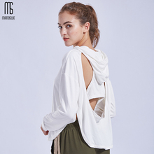 Backless Yoga Top Gym Clothing Sport Women Hooded Long Sleeve Running Fitness Breathable Shirt Workout Clothes High