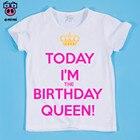 Size(90-160cm) Children's Keep Calm Coz I'm Brithday Queen/Princess Cute Design Print T-shirt Boy and Girl T-Shirt Kids Clothes