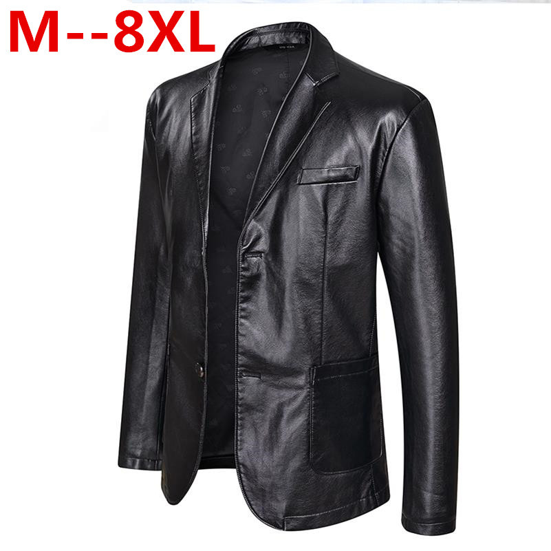 10XL 8XL 6XL 5XL 4XL Brand PU Leather Jacket Men Autumn Winter Casual Mens Jackets Solid Clothes Elastic Motorcycle Outerwear