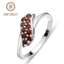 Ring  GEM'S BALLET 925 Sterling Silver Garnet  Rings Trendy Classic ngagement Fine Jewelry for Women Simple Design