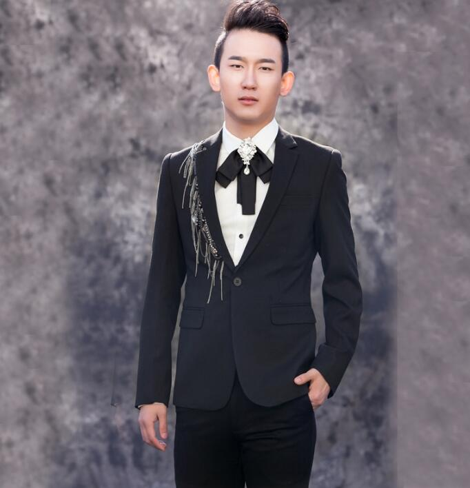 European men chain suits design homme terno stage costumes singers men sequin blazer dance clothes jacket dress punk black