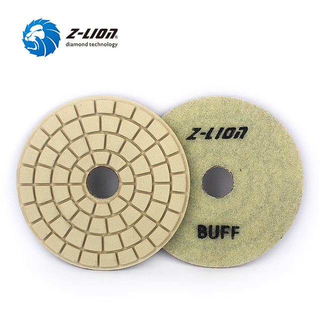 "Z-LION 4"" 2pcs Diamond Buff Polishing Pad Granite Marble Stone Buffing Disc Premium White Wet Diamond Polish Wheel Abrasive Tool"