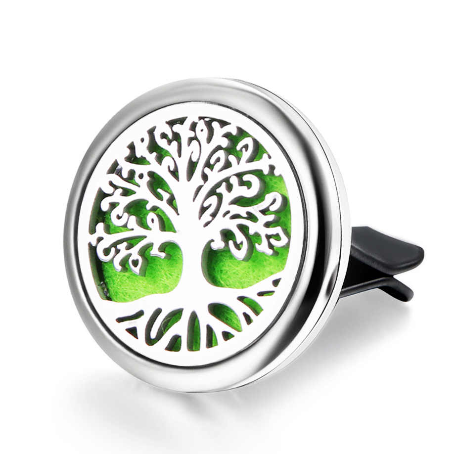 Quality Tree Of Life Car Clip Stainless Steel Perfume Essential Oil Diffuser Car Air Outlet Freshener Decoration Aroma Locket