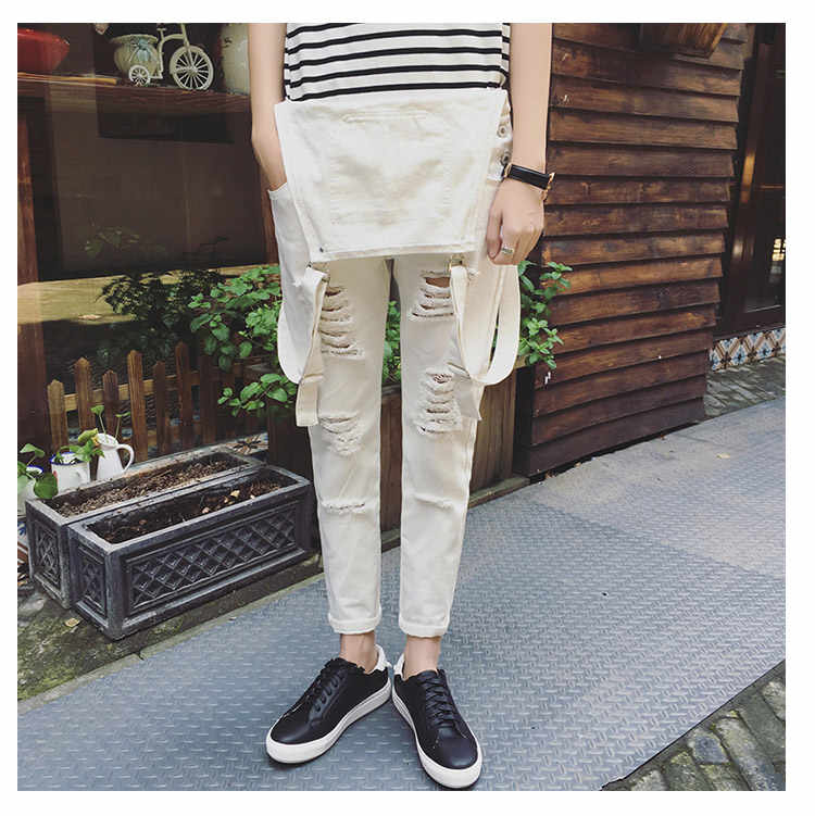 Mens Fashion Black White Jumpsuit For Men Casual Suspender Pants Straight Casual Long Mens Overalls Spring Autumn Clothing
