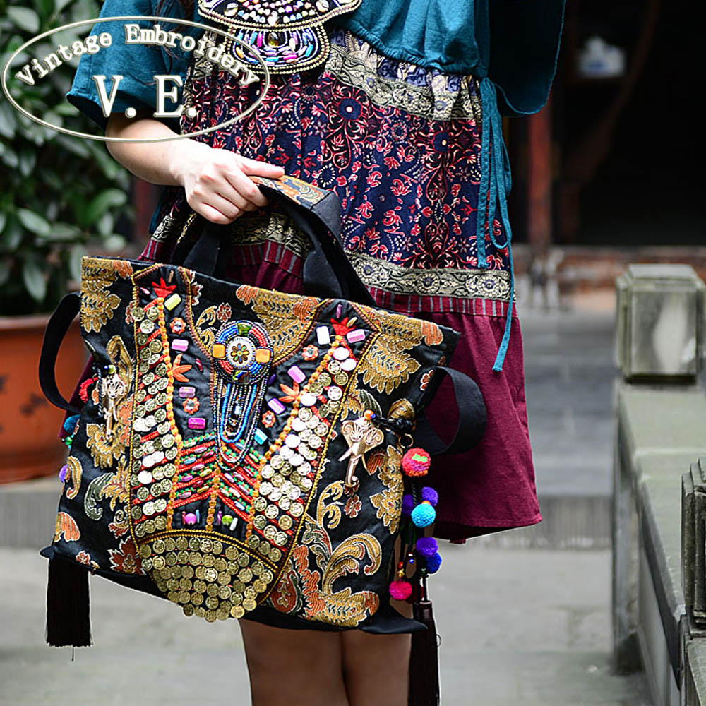 Vintage Embroidery Women Bag Ethnic Elephant Pompon Shoulder Messenger Bag Shopping Travel Handbag Bolsas Femininas ethnic style elephant print and black design shoulder bag for women