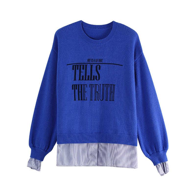 Toyouth ตัวอักษรลายผู้หญิงฤดูใบไม้ร่วงเสื้อกันหนาว O - Neck Pullover เสื้อแขนยาวลำลองหญิงจัมเปอร์ถัก