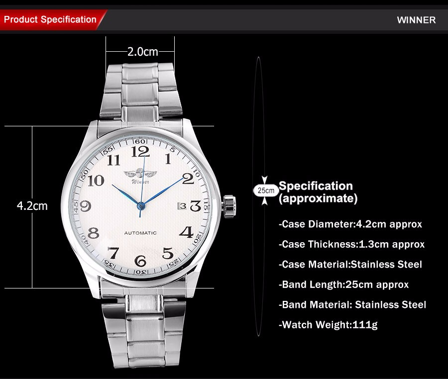 WINNER fashion casual men machanical watches stainless steel band silver case luxury automatic wristwatches relogio masculino