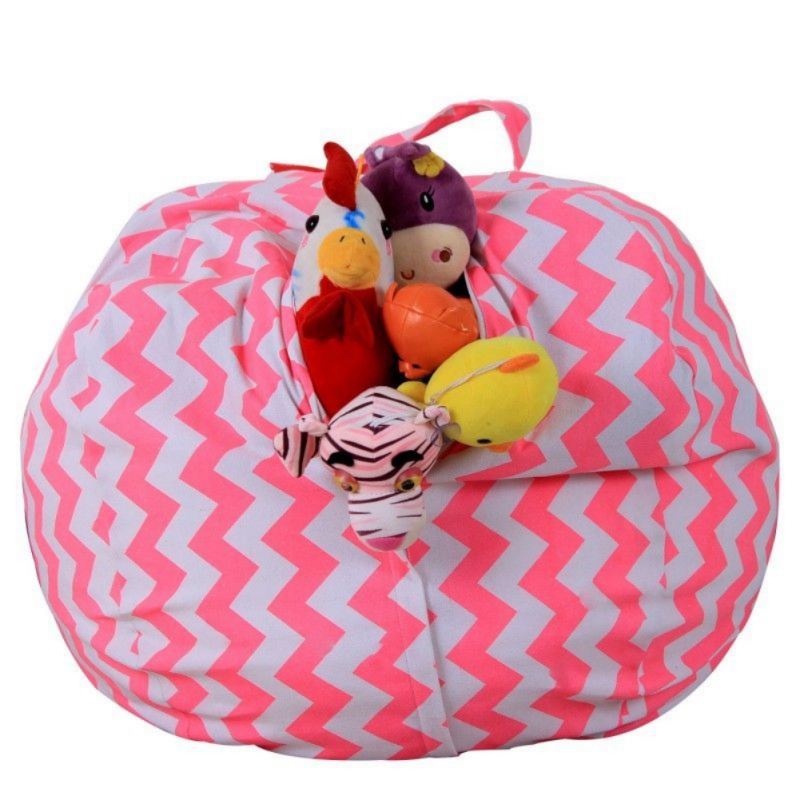 Stuffable Animal Printed Toys Storage Bean Bag Stuffed Children Plush Toy Organizer Chair For Kids