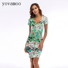 Yovamoo Bodycon Pencil Dresses Fashion Retro Sexy Club Deep V Neck Short Sleeve Green Print Women Dress Summer 2018 Plus Size