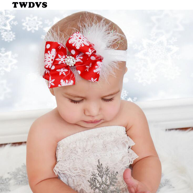TWDVS Kids Christmas Headband Feather Bow Snow Flower Hair Band Girls kids Headwear Merry Christmas Hair Accessories W245 metting joura vintage bohemian green mixed color flower satin cross ethnic fabric elastic turban headband hair accessories