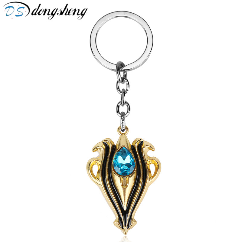 dongsheng Anime Game Fire Emblem Keychain Car Game Jewelry Fire Symble with Blue Blue Crystal Metal Key Chain -50 image