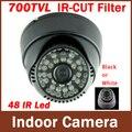 CMOS 700TVL IR-CUT Filtro Interior Dome Cámara 48 IR Led de Visión Nocturna de Seguridad CCTV Cámara de Vigilancia (negro/Blanco)