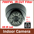 CMOS 700TVL IR-CUT Filtro Interior Dome Camera 48 Led IR Night Vision Security Vigilância CCTV Camera (preto/Branco)