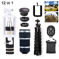 Phone Lens 12in1 Kit 8X Zoom Telephoto Lenses Telescope Fisheye Wide Angle Macro Lentes For Xiaomi Samsung Huawei iPhone 5 6s 7