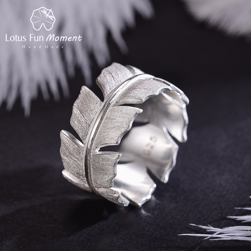 Lotus Fun Moment Real 925 Sterling Silver Natural Original Designer Fine Jewelry Elegant Soft Feather  Rings for Women Bijoux