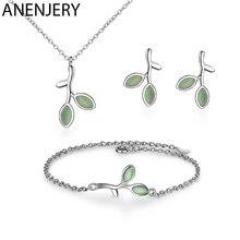 ANENJERY 925 Sterling Silber Schmuck Sets Opal Blatt Knospe Halskette + Ohrringe + Armband Für Frauen Mädchen Schmuck Geschenk