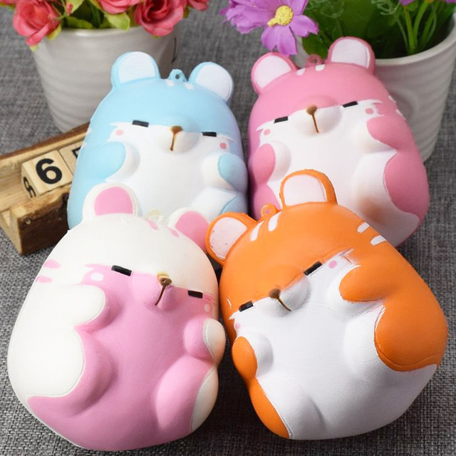 Besegad Cute Kawaii Soft Squishy Colorful Simulation Hamster Toy Slow Rising for Relieves Stress ...