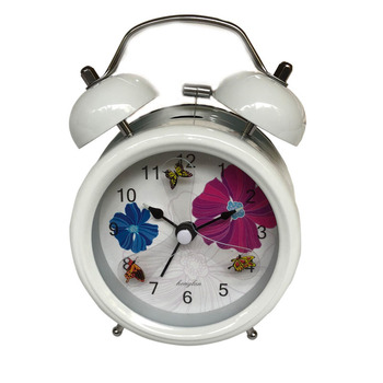 Vintage retro silent pointer clock dual bell loud alarm clock beside night light home decors household alarm clocks white-DL-HD