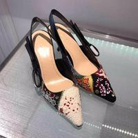 Ethnic Embroidery Women Pumps Retro Bohemina Fashion Shoes 2019 New Spring Pointed Toe Buckle Ladies High Heels 9.5 cm 6.5cm