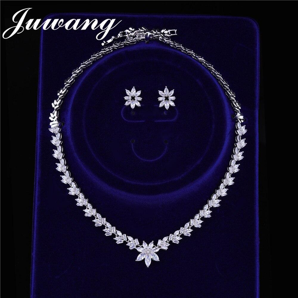 JUWANG-ensemble de bijoux pour mariée, magnifique ensemble de bijoux de mariage, collier en zircone cubique, à la mode, pour la saint-valentin