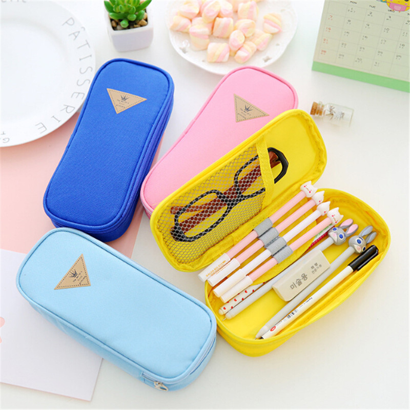 Korea Magic Channel Large Capacity Multifunctional <font><b>Canvas</b></font> <font><b>Pencil</b></font> <font><b>Cases</b></font> <font><b>Big</b></font> Leather Pen Bags Box for Boys Girls School Stationery image
