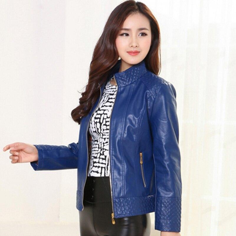 4XL Plus size female leather jacket 2018 autumn winter women