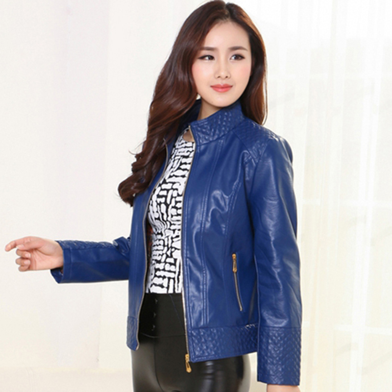4XL Plus size female leather jacket 2018 autumn winter women's leather coats short Motorcycle jacket black red outerwear QH0940