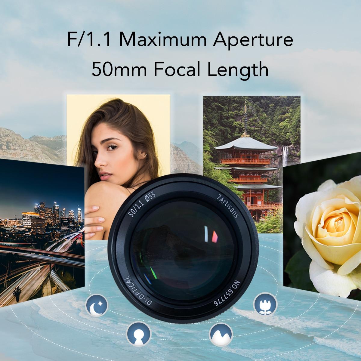 7 artesanos 50mm F1.1large apertura Paraxial M montaje de la lente para las cámaras M M240 M3 M5 M6 M7 M8 M9 M9p M10 - 2