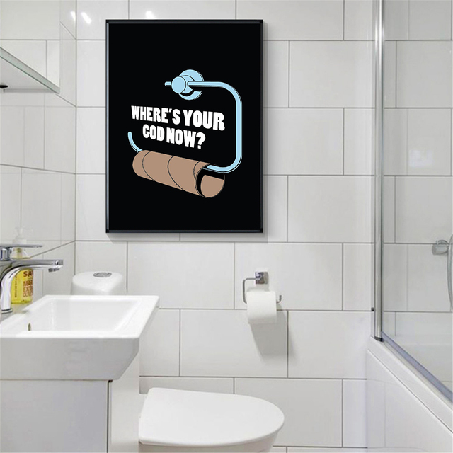 Pop Art Poster Black And White Funny Toilet Paper Wall Art Print Best Bathrooms For Seniors Painting