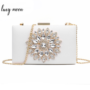 White Clutch Bag Ladies Clutch Purses Bridal Evening Crystal Summer Bags for Women 2020 Luxury Small Crossbody Bags sac ZD1333(China)