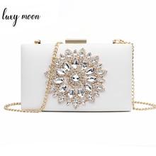 White Clutch Bag Ladies Clutch Purses Bridal Evening Crystal Summer Bag