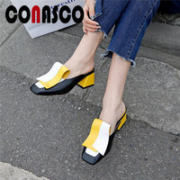 CONASCO Mules Shoes Women Fashion Sqaure High Heels High Quality Genuine Leather Concise Pumps Spring Summer Prom Shoes Woman