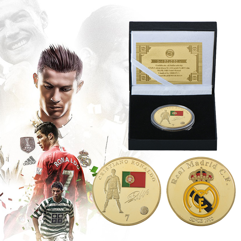 WR Gold Plated Real Madrid Cristiano Ronaldo Para Original Coins Box Collectibles 2018 Russia World Cup Football Game Fans Gifts