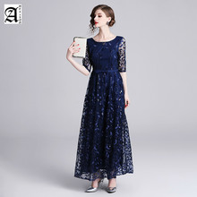 2019 New A line Scoop Neck Short Sleeve Lace Appliques Tulle Long Party Gowns Navy Blue Formal Evening Dresses  Robe Soiree Sexy