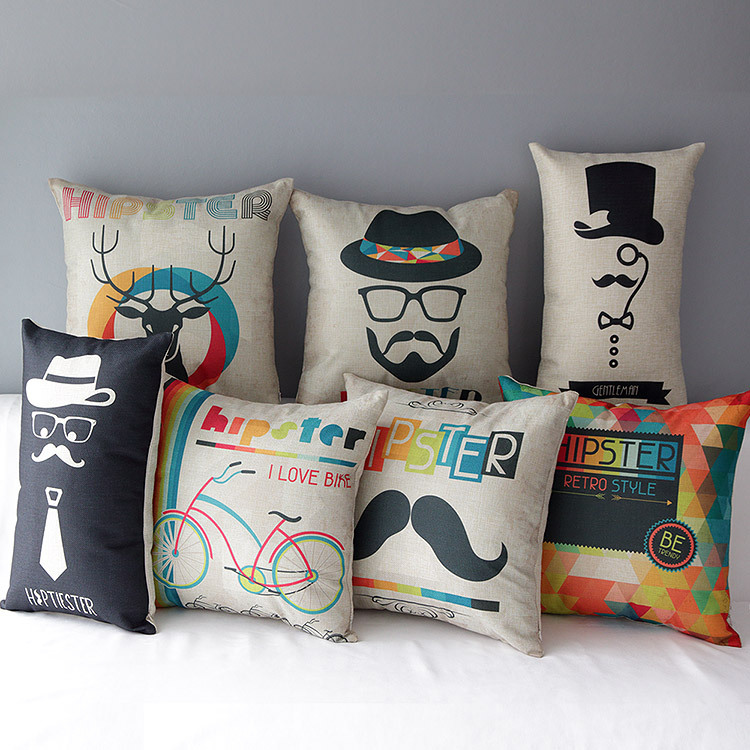 2015 new fashion hipster linen cushion cover Nordic IKEA colorful almofadas para sofa 45x45 home decor Cojines