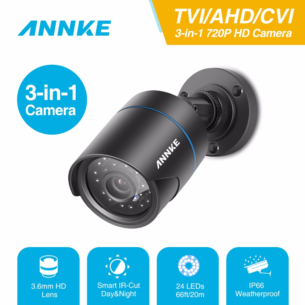 ANNKE 720P 1MP Camera HD 3-in-1 TVI/AHD/CVI CCTV Security Camera IP66 weatherproof Indoor outdoor PAL CCTV Surveillance Camera вытяжка каминная gorenje whgc933e16x