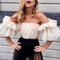 New Fashion Women Top Strapless Shirt Off Shoulder Mesh Lace Embroidery Ruffles Flare Sleeve Sexy Short Tops Summer Tube top