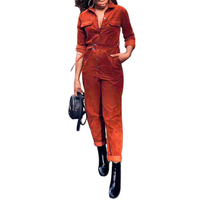 Winter Jumpsuit Women Rompers Corduroy Turn Down Collar Pockets Loose Buttons Long Sleeve Overalls Sashes One Piece Jumpsuit