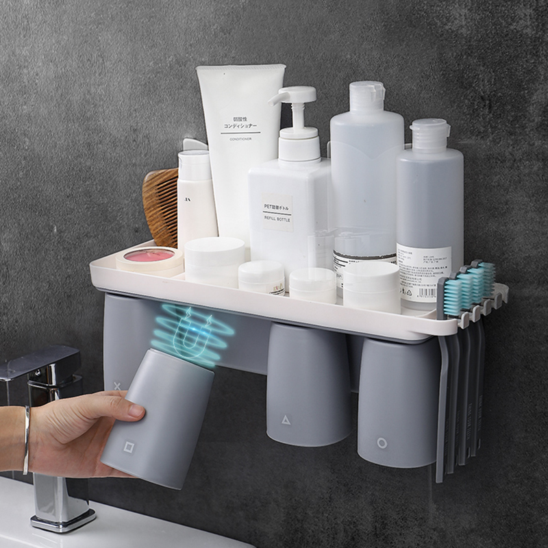 Magnetic Adsorption Cup Storage Wall Mounted Toothpaste Toothbrush Holder Shelf