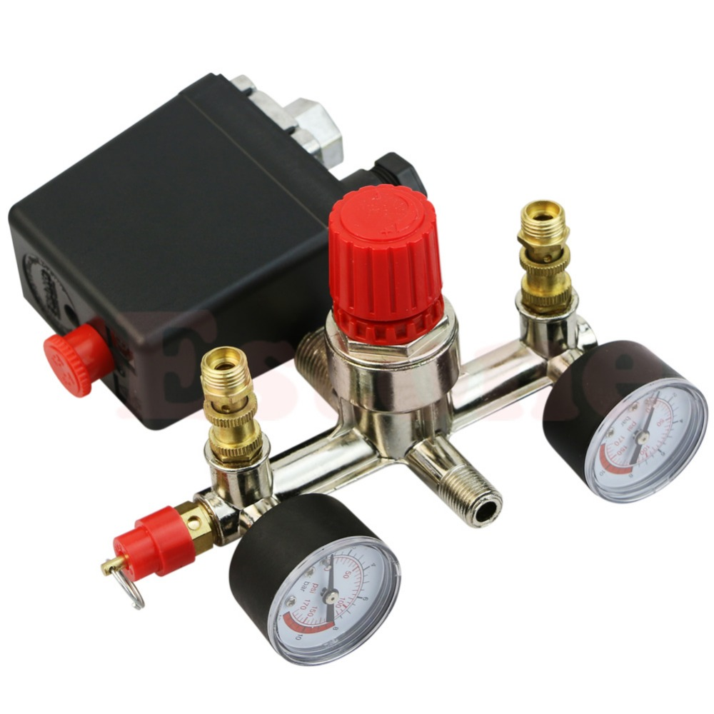 OOTDTY J34 Heavy Duty Valve Gauges Regulator Air Compressor Pump Pressure Control Switch 40343 adjustable pressure switch air compressor switch pressure regulating with 2 press gauges valve control set