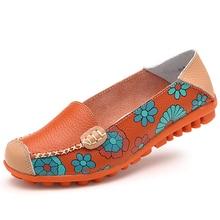 2018 Cow Muscle Ballet Summer Flower Print Women Genuine Leather Shoes Woman Flat Flexible Nurse Peas Loafer Flats Appliques