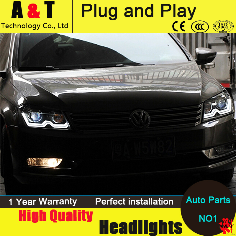 Car Styling For VW Passat headlight assembly 2011-2014 for Passat b7 led headlight  drl H7 with hid kit 2pcs. car styling head lamp for bmw e84 x1 led headlight assembly 2009 2014 e84 led drl h7 with hid kit 2 pcs