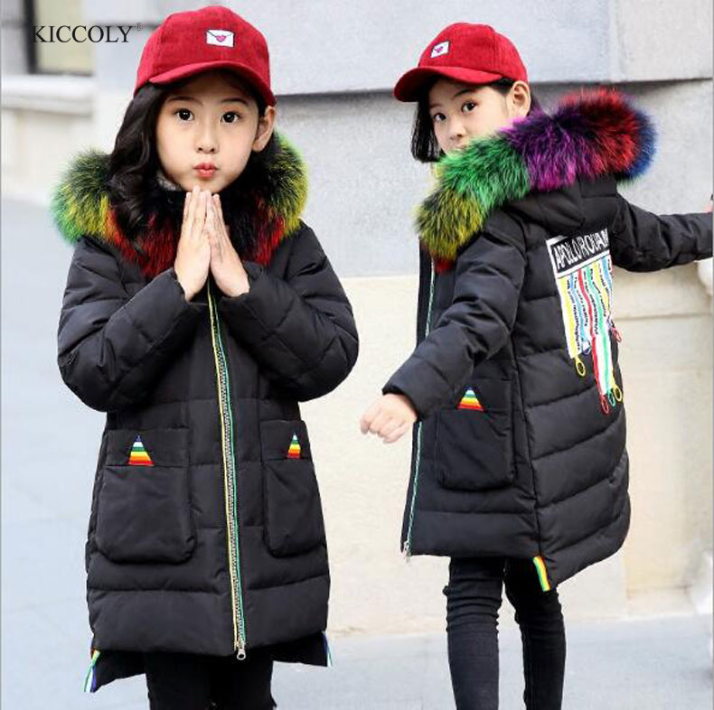 Russian Winter Kids Down Jackets Girls Boy Long Sections Thickening Warm Outerwear Coats Children Color Fur Collar Down & Parkas 2018 big boy down jacket winter boys thickening duck down jackets coats fur hooded long winter warm children s outerwear coats