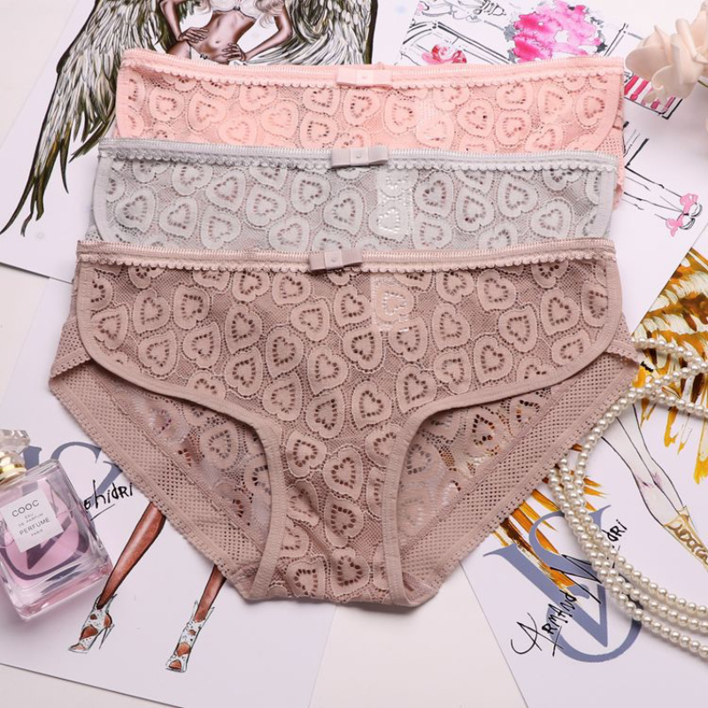 SP&CITY Heart Embroidered Lace Hollow Out Panties Women Sexy Transparent Underwear Female Seamless Panties Crotch Cotton Briefs