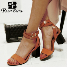RIZABINA New Arrival Women Sandals High Heels Summer Shoes Fashion Ankle Strap Office Lady Retro Footwear Size 34-39