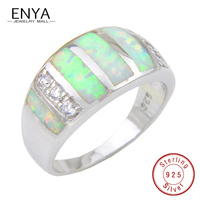 ENYA Authentic 925 Sterling Silver Unique White Fire Opal Gems Ring Micro Pave CZ for Women Wedding Jewelry Engagement Rings