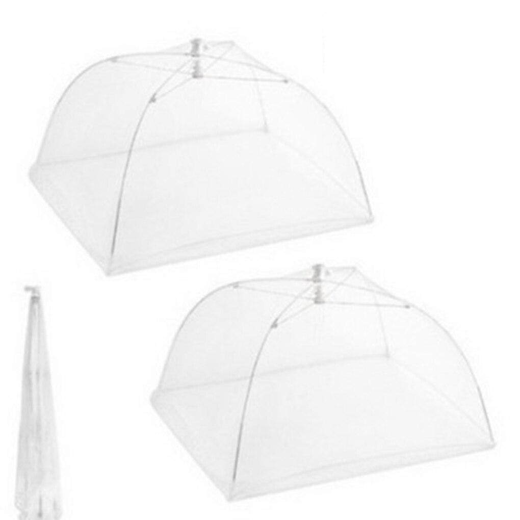 6 pcs/12 pcs Pieghevole A Forma di Quadrato Mesh Traspirante Copertura Cibo Tende Kichen Cibo Protector Bianco