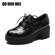 Bacia 2018 New Spring Autumn Women Pumps Sqaure High heels Casual Shoes Cow Leather Female Creepers