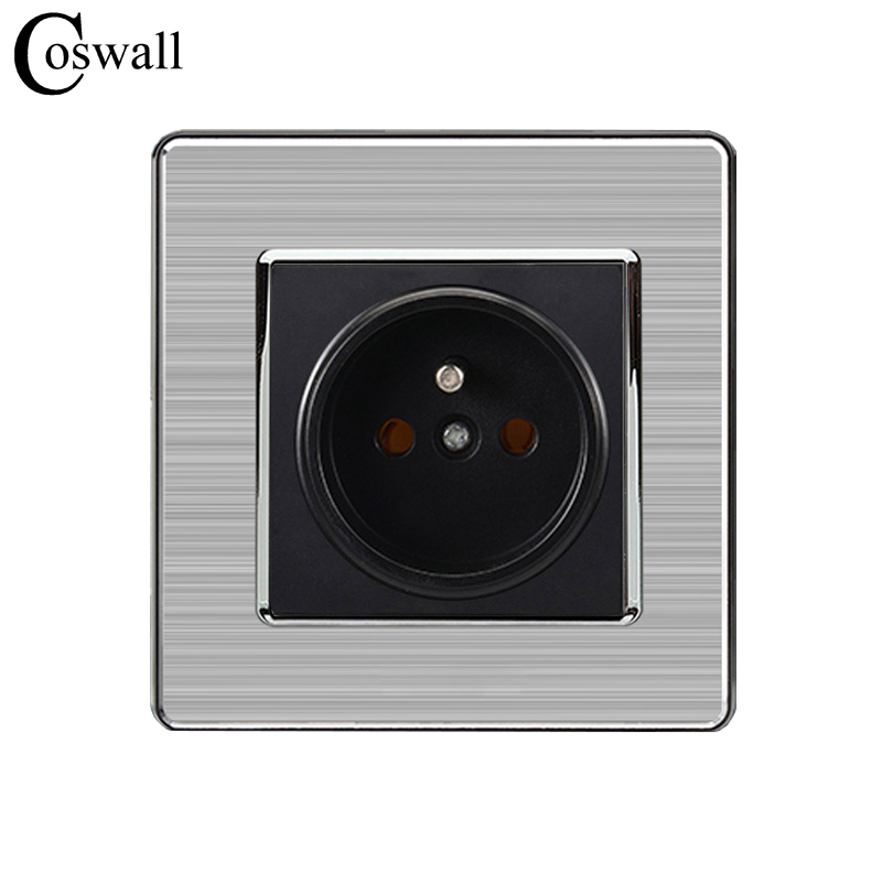 COSWALL 16A French Standard Wall Socket Luxury Power Outlet Stainless Steel Brushed Silver Panel Electrical Plug AC 110~250VCOSWALL 16A French Standard Wall Socket Luxury Power Outlet Stainless Steel Brushed Silver Panel Electrical Plug AC 110~250V