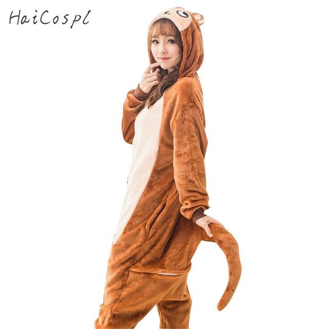 0fb516000c8c Monkey Pajama Set Couple Kigurumi Sleepwear Animal Cosplay Costume Women  Adult Onesie Party Suit Warm Brown